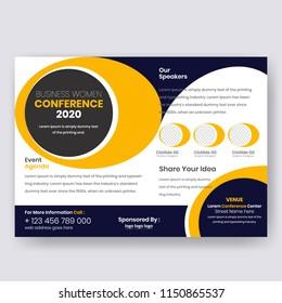conference flyer design template women leadership stock vector