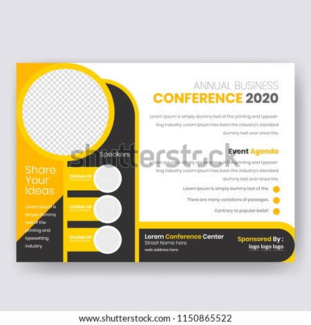 horizontal conference flyer design template women stock vector