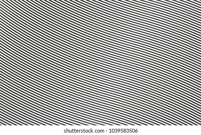 horizontal curved lines monochrome halftone black and white geometric pattern. vector background thin stripes.