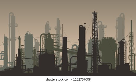 Horizontal dark brown illustration industrial part of city with factories, refineries and power plants.
