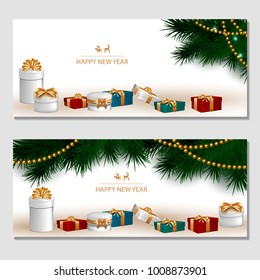 Horizontal design background with white gift boxes and a gold bow with tree branches. Template Invitation For Happy  New Year, Merry Christmas. For a banner, postcards. flyer. Vector