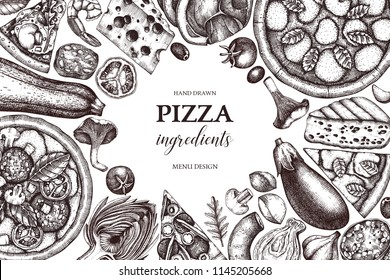 Horizontal design with hand drawn italian pizza ingradients sketches. Vector frame for pizzeria or cafe menu. Top view fast food illustration. Vintage template. Hero image.