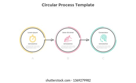 Horizontal diagram with 3 circular elements connected by arrows. Concept of three successive stages of marketing strategy. Linear infographic design template. Vector illustration for progress bar.