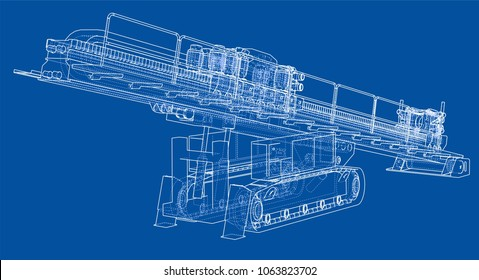 Horizontal directional drilling machine outlined vector rendering of 3d. The layers of visible and invisible lines are separated
