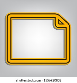 Horizontal document sign illustration. Flat orange icon with overlapping linear black icon with gray shadow at whitish background. Illustration.