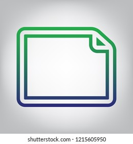 Horizontal document sign illustration. Vector. Green to blue gradient contour icon at grayish background with light in center.