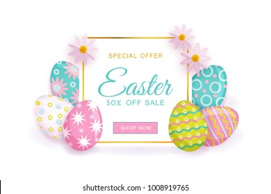 Horizontal Easter sale banner, flyer design with square frame decorated with flowers and painted eggs, vector illustration. Colorful Easter sale banner template with text, painted eggs and flowers