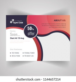 Horizontal Fitness Center Flyer & Poster Cover Template. Fitness and Gym concept, Abstract Modern Design, Business brochure. Vector Illustration