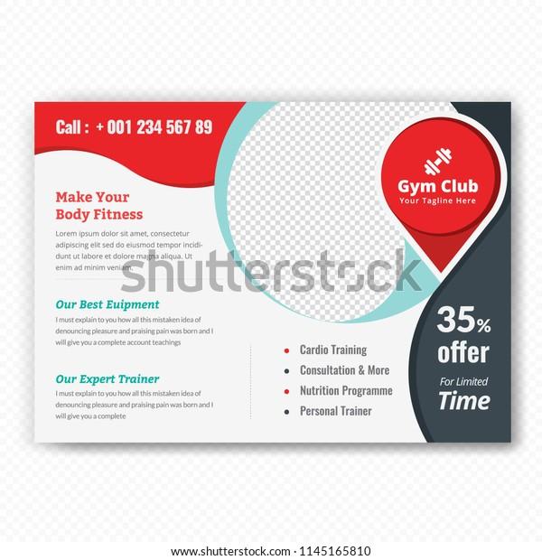 Horizontal Fitness Center Flyer Poster Cover Stock Vector