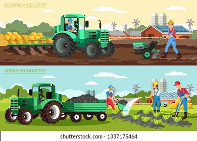 Horizontal Flat Banner Agrarian Industry Set. Vector Illustration on Color Background. Foreground Green Tractor with Pitch or Harrow is Used Farm Mechanization. People Work on Farm.