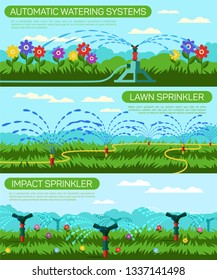 Horizontal Flat Banner Automatic Watering Systems. Vector Illustration Color Background. Set Lawn Impact Sprinkler. Foreground Green Lawn with Flowers and Grass. Water Supply System Nourishes Plants.