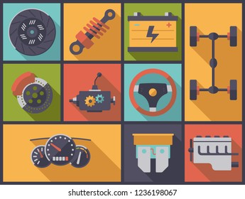 Horizontal flat design long shadow illustration with motor vehicle parts symbols