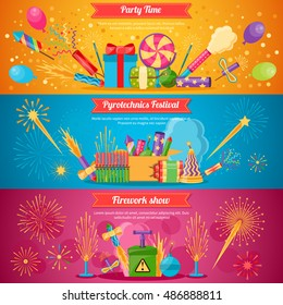 Horizontal flat pyrotechnics festival isolated banners with colorful crackers and balloons for firework show vector illustration
