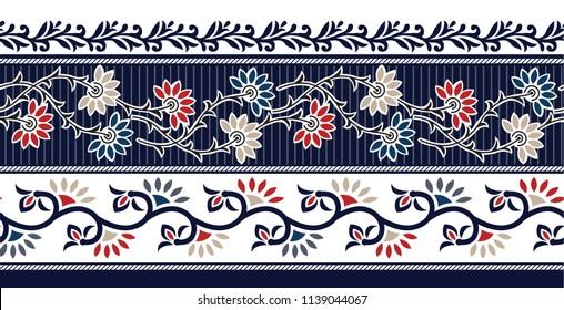 horizontal flower border on navy