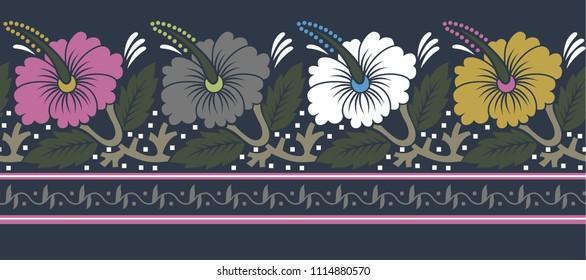 horizontal flower  borders on background