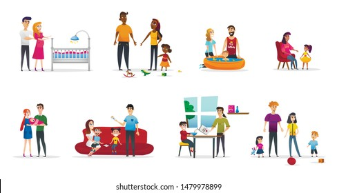 Horizontal Flyer Set Parenting, Cartoon Flat. Husband and Wife are Preparing for Appearance Child. Responsible Parents Bring Up and Walk with Baby. Emotional Attachment Parents and Children.