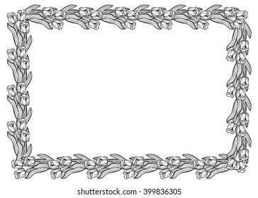 Horizontal frame with elegant tulips. Vector clip art.