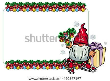 horizontal frame with new year balls and cute gnome ice skating vector clip art