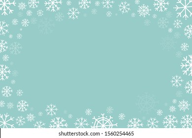 Horizontal frame with snowflakes. Vector christmas background. Christmas design