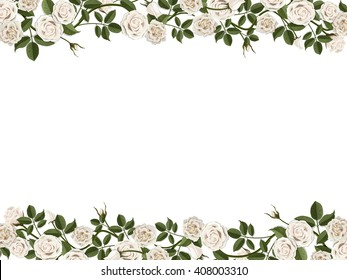 Horizontal frame with white roses. Vector floral decorative gift or wedding card.