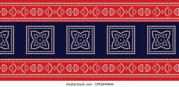 horizontal geometric bandana border pattern on red