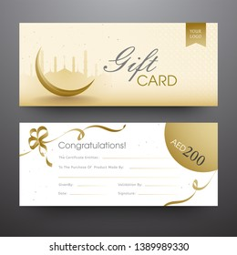 Horizontal gift card or banner set with silhouette mosque, crescent moon and discount offer for Islamic festival.