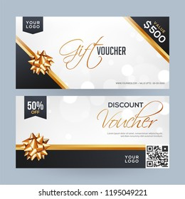 Horizontal gift coupon or voucher layout with best discount offer and glossy golden ribbon on blurred background.