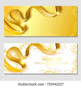 Horizontal gift invitation with a golden ribbon, confetti. Design background for printing. Corporate advertising voucher, flyer, template for banner, ticket. Vector. Happy New Year and Merry Christmas