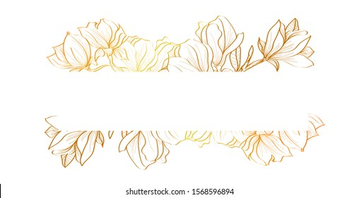 Horizontal gold flowers vector design banner. Natural summer card or frame. All elements are isolated and editable. Elegant postcard with text space
