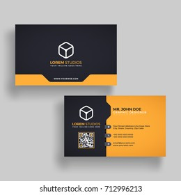 Horizontal golden and black business card with front and back presentation.