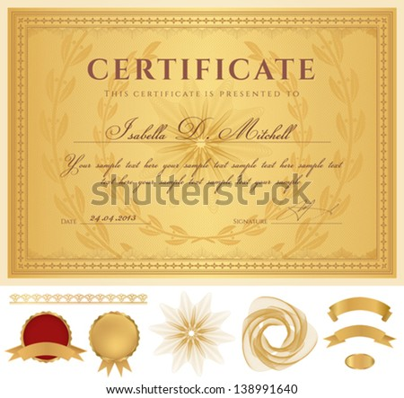 horizontal golden certificate completion template guilloche stock