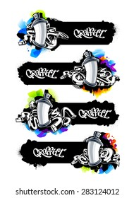 Horizontal graffiti banners with spray cans and abstract arrows. Cool graffiti design templates with copy-space. Vector graphics.