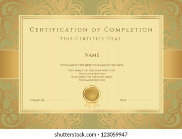 Horizontal green certificate of completion template with golden floral pattern and border. This design usable for diploma, invitation,  gift voucher, coupon, official or different awards. Vector
