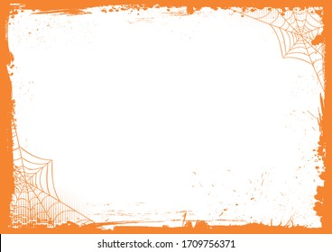 The horizontal Halloween blank background with gradient orange grunge border and spider web