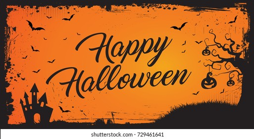 Horizontal Happy Halloween banner, orange background with grunge border, bat, pumpkin