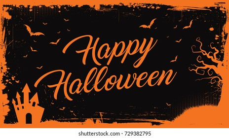 Horizontal Happy Halloween orange text with bats, pumpkin and scary house border