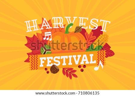 horizontal harvest festival banner poster or flyer template thanksgiving celebration vector illustration