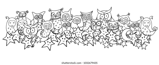 Horizontal illustration with cute cartoon owls, moons and sleeping or smiling stars. Vector cartoon image with black contour isolated on white background. Good for borders or coloring books.