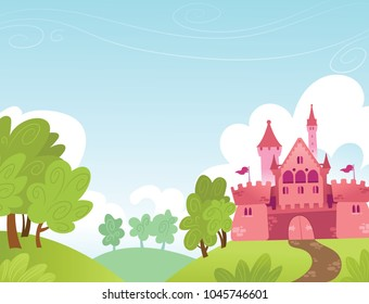 Horizontal illustration of a fantasy pink castle
