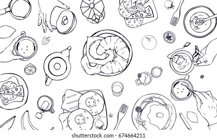 Horizontal  illustration on breakfast theme. Black and white vector hand drawn table with drink, pancakes, sandwiches, eggs, croissants and fruits. Top view.