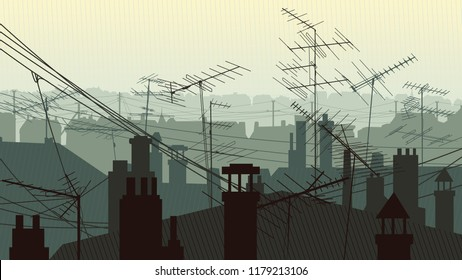 Horizontal illustration roofs of houses with chimney pipes and antennas television aerials and hanging wires.