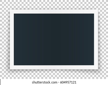 Horizontal image frame concept, isolated on transparent background. Vector high quality detailed mock up, for pictures and image or even video.