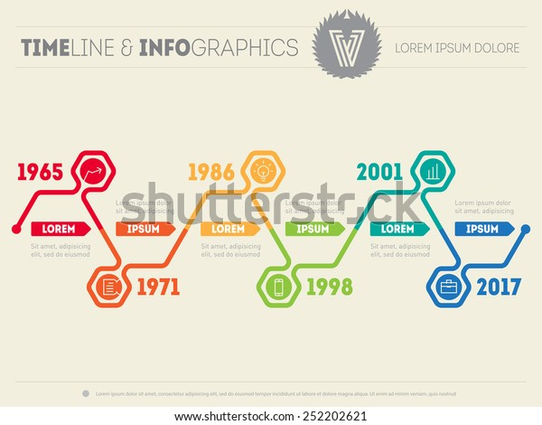 Horizontal Infographic Timelines Vector Web Template Stock