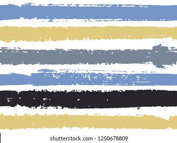 Horizontal ink lines paint stripes seamless vector summer design. Painted horizontal dry brush strokes stripy texture. Hand drawn paint strokes retro paintbrush lines horizontal background vector.