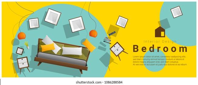 Horizontal interior banner sale with bedroom furniture hovering on colorful background , vector , illustration