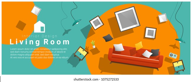 Horizontal interior banner sale with living room furniture hovering on colorful background , vector , illustration