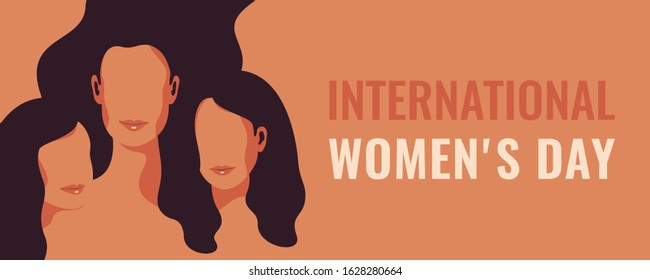 Horizontal International Women's Day card with Silhouettes of three women standing together. Women's friendship. Vector concept of the female's empowerment movement.