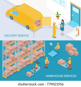 Horizontal isometric banners with logistic business including warehouse with staff and delivery services isolated vector illustration