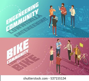 Horizontal isometric engineering and bike communities banners with people having common interests isolated vector illustration
