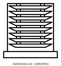 Horizontal jalousie icon. Outline horizontal jalousie vector icon for web design isolated on white background